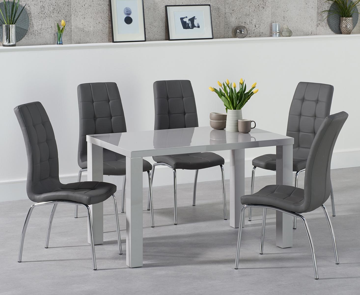 Atlanta 120cm Light Grey Gloss Dining Table with Calgary Chairs