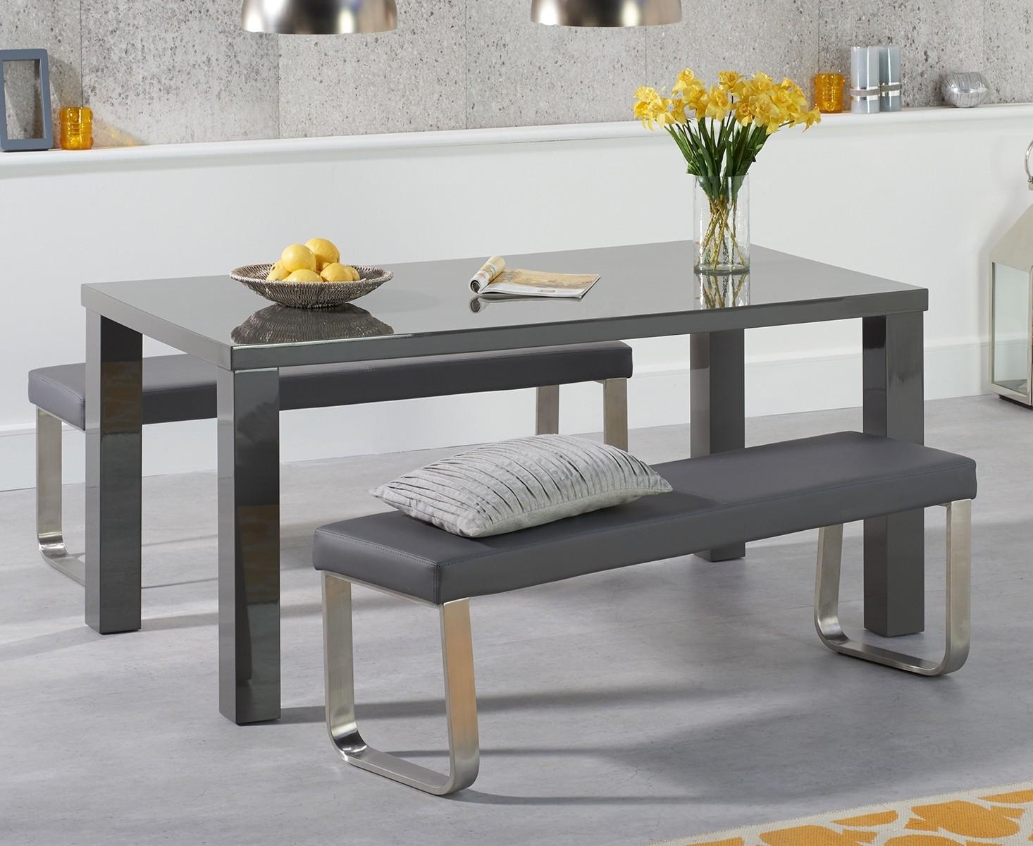 An image of Atlanta 160cm Dark Grey High Gloss Dining Table with Atlanta Benches