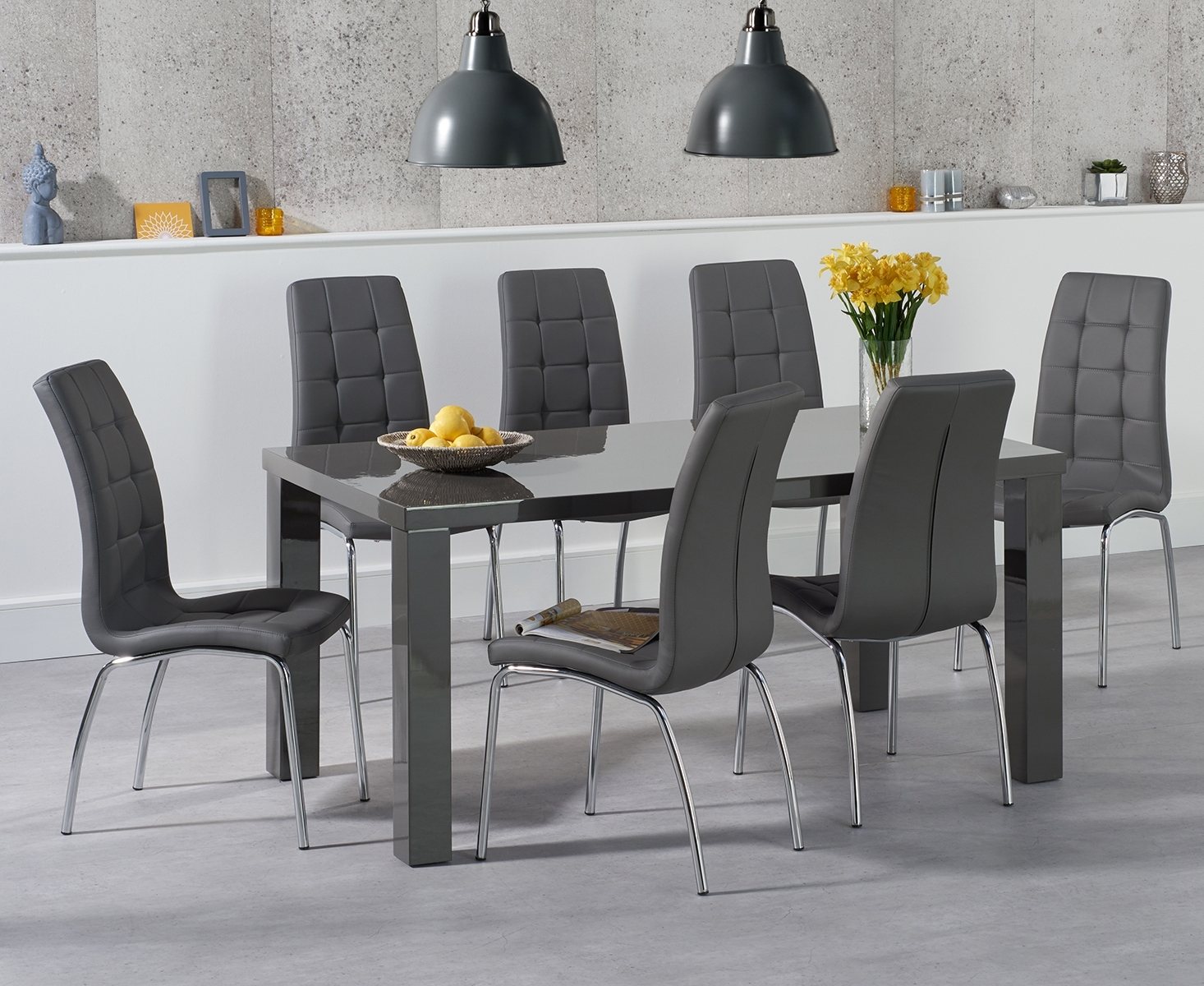 An image of Atlanta 160cm Dark Grey High Gloss Dining Table with Calgary Chairs