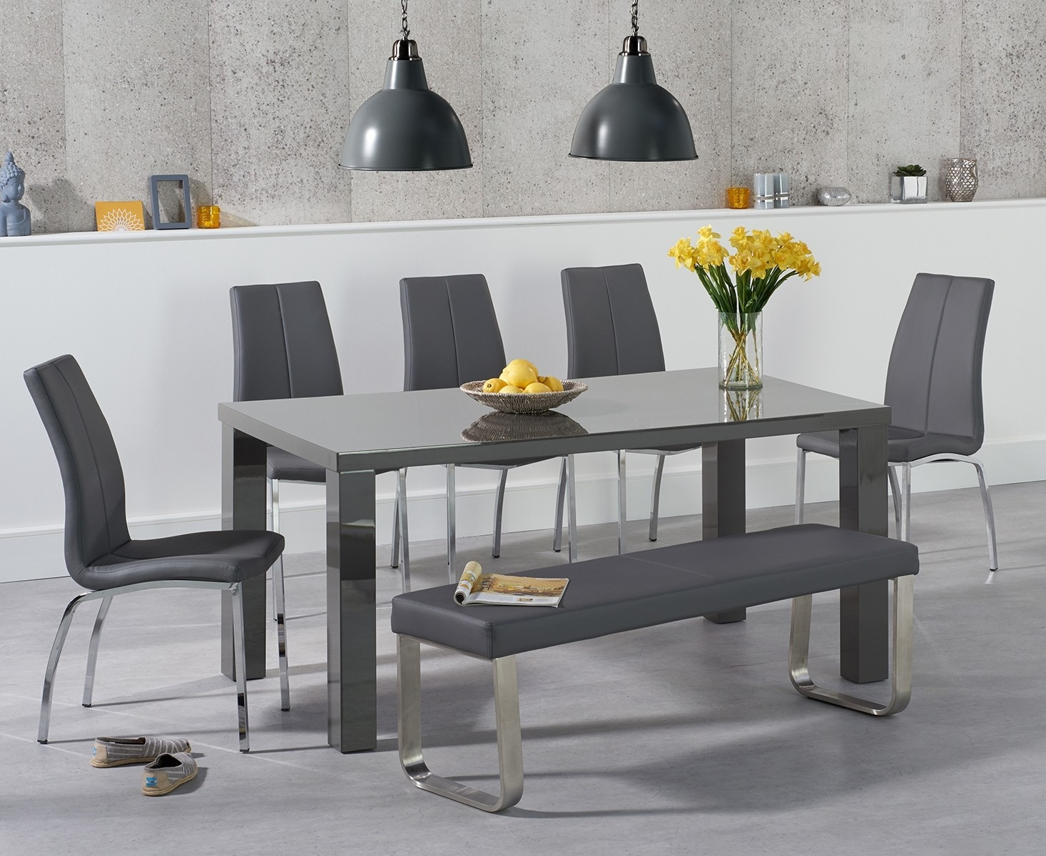 An image of Atlanta 160cm Dark Grey High Gloss Dining Table with Cavello Chairs and Atlanta ...