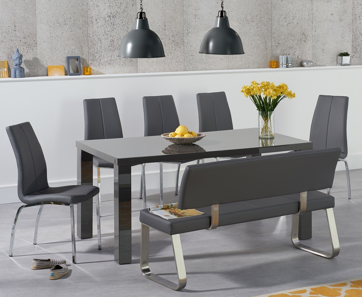 An image of Atlanta 160cm Dark Grey High Gloss Dining Table with Cavello Chairs and Malaga G...