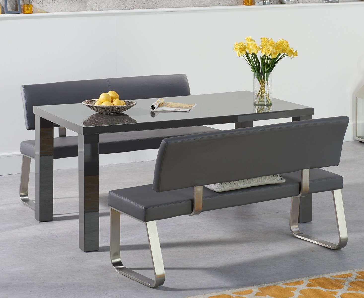 An image of Atlanta 160cm Dark Grey High Gloss Dining Table with Malaga Benches