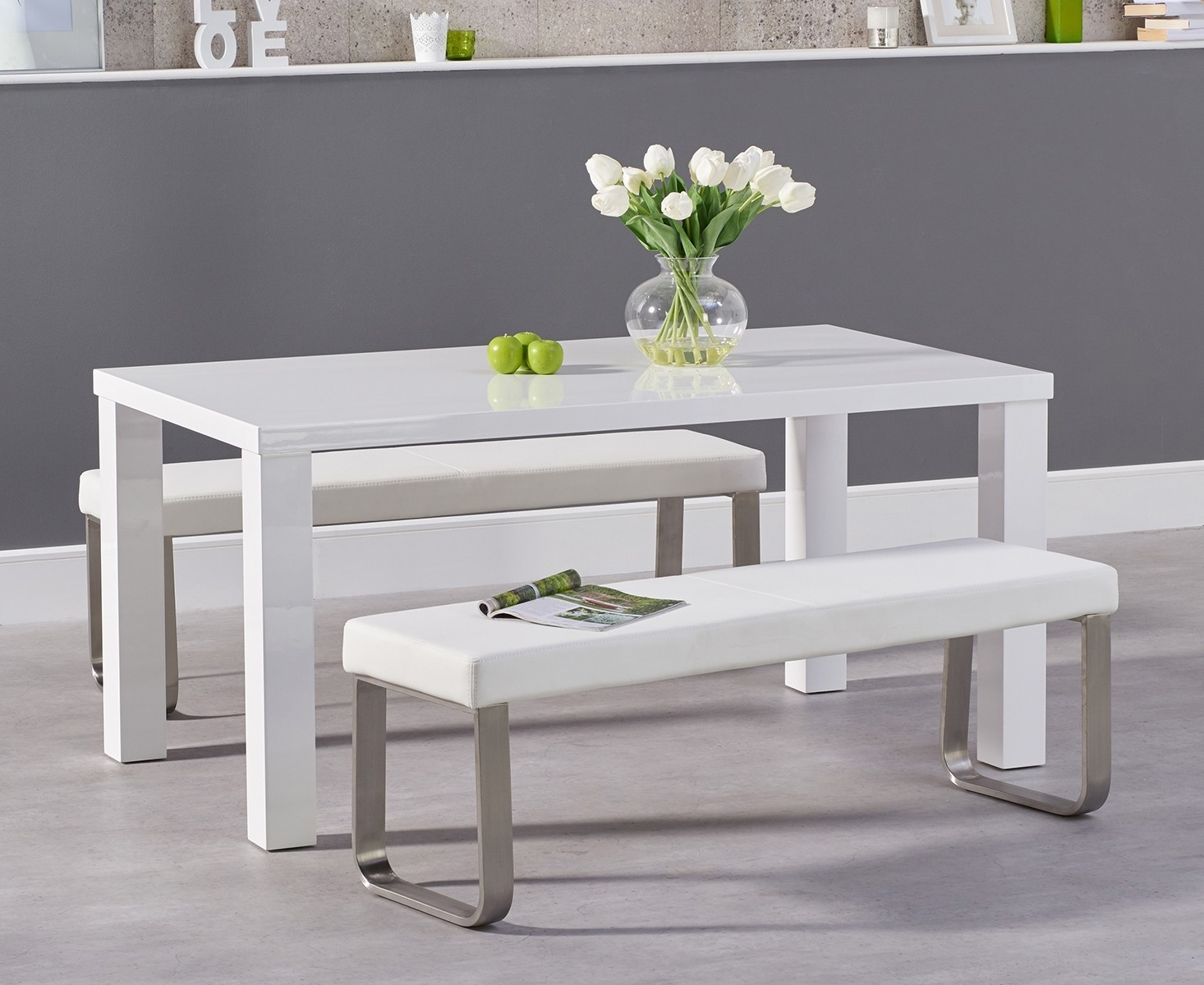 An image of Atlanta 160cm White High Gloss Dining Table with Atlanta Benches