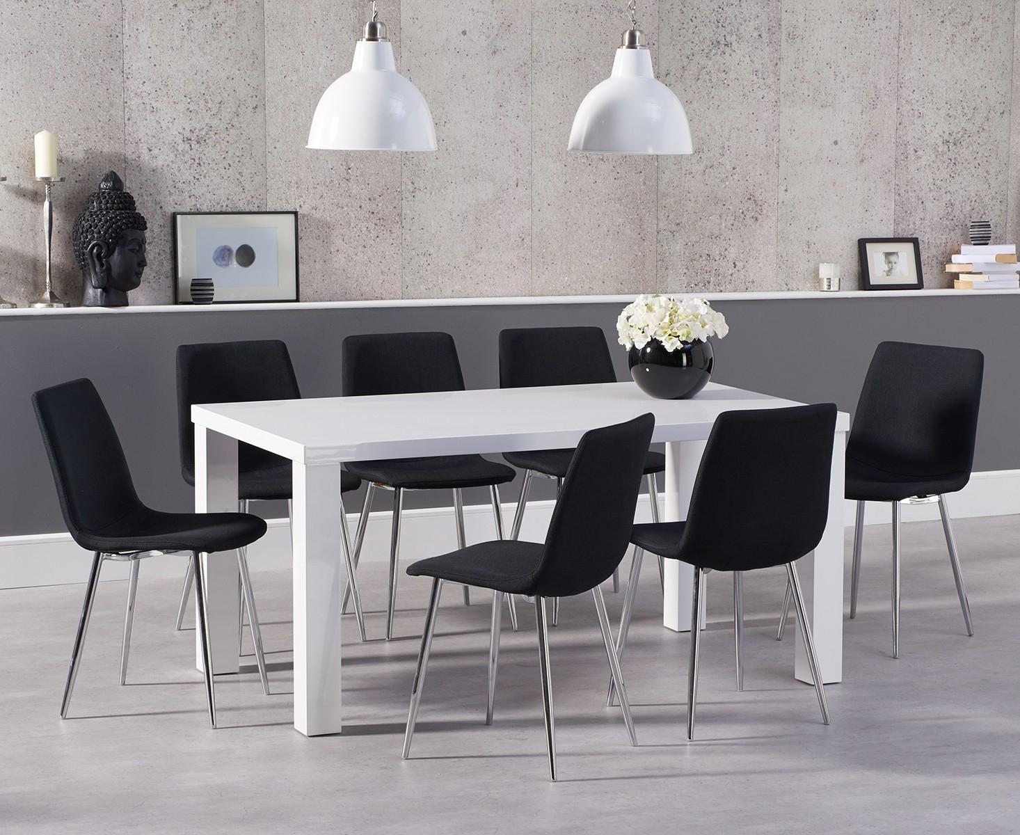 An image of Atlanta 160cm White High Gloss Dining Table with Hamburg Fabric Chrome Leg Chair...