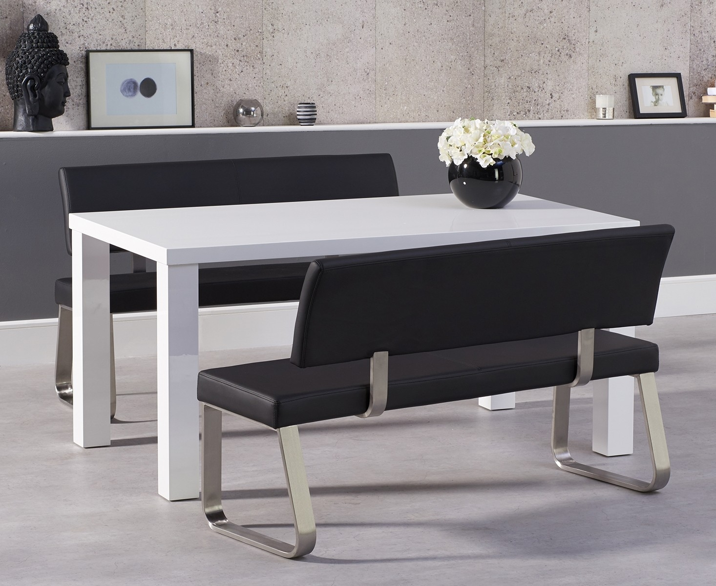 An image of Atlanta 160cm White High Gloss Dining Table with Black Malaga Benches