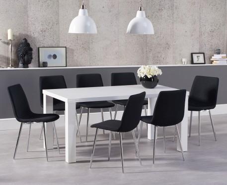 Photo of Atlanta 180cm white high gloss dining table with hamburg fabric chrome chairs