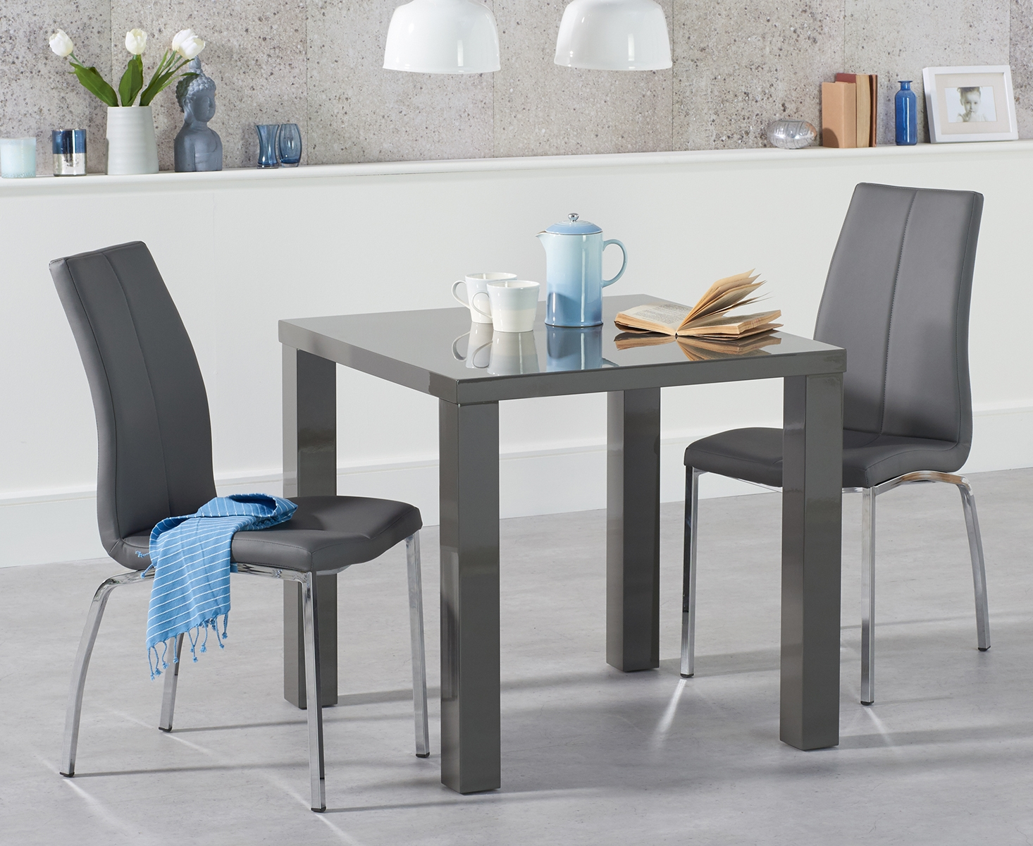 An image of Atlanta 80cm Dark Grey High Gloss Dining Table with Cavello Chairs