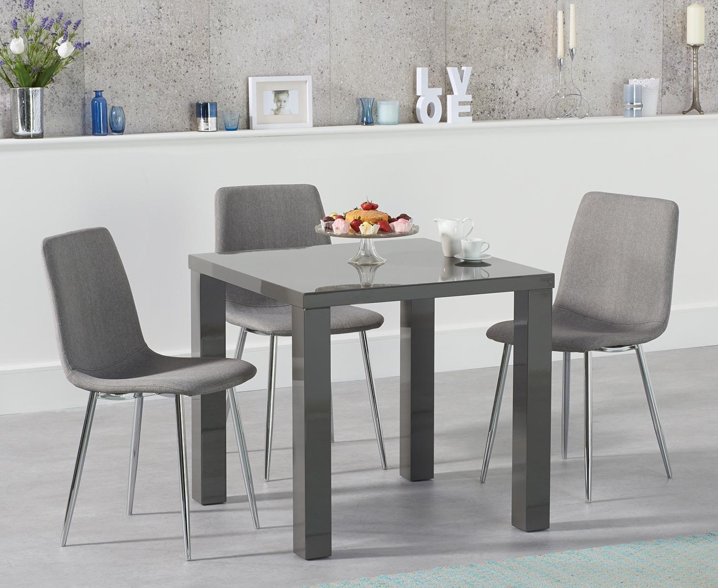 Photo of Atlanta 80cm dark grey high gloss dining table with hamburg fabric and chrome leg chairs