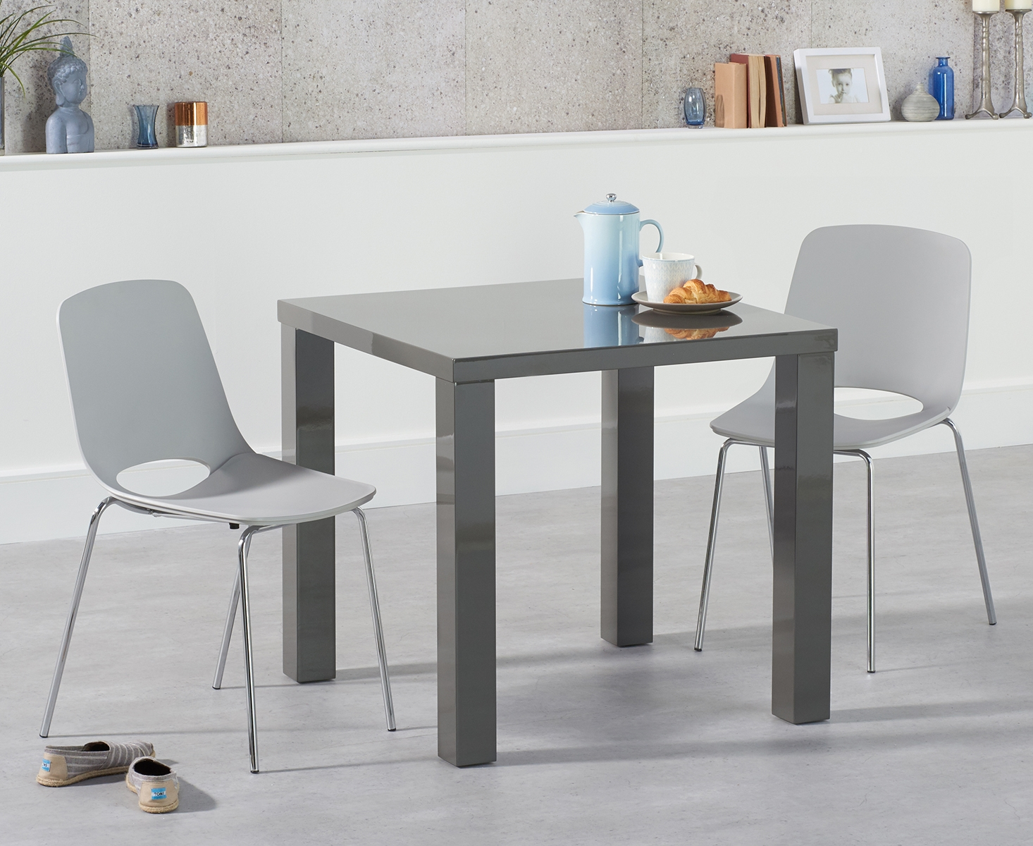An image of Atlanta 80cm Dark Grey High Gloss Dining Table with Nordic Chrome Leg Chairs