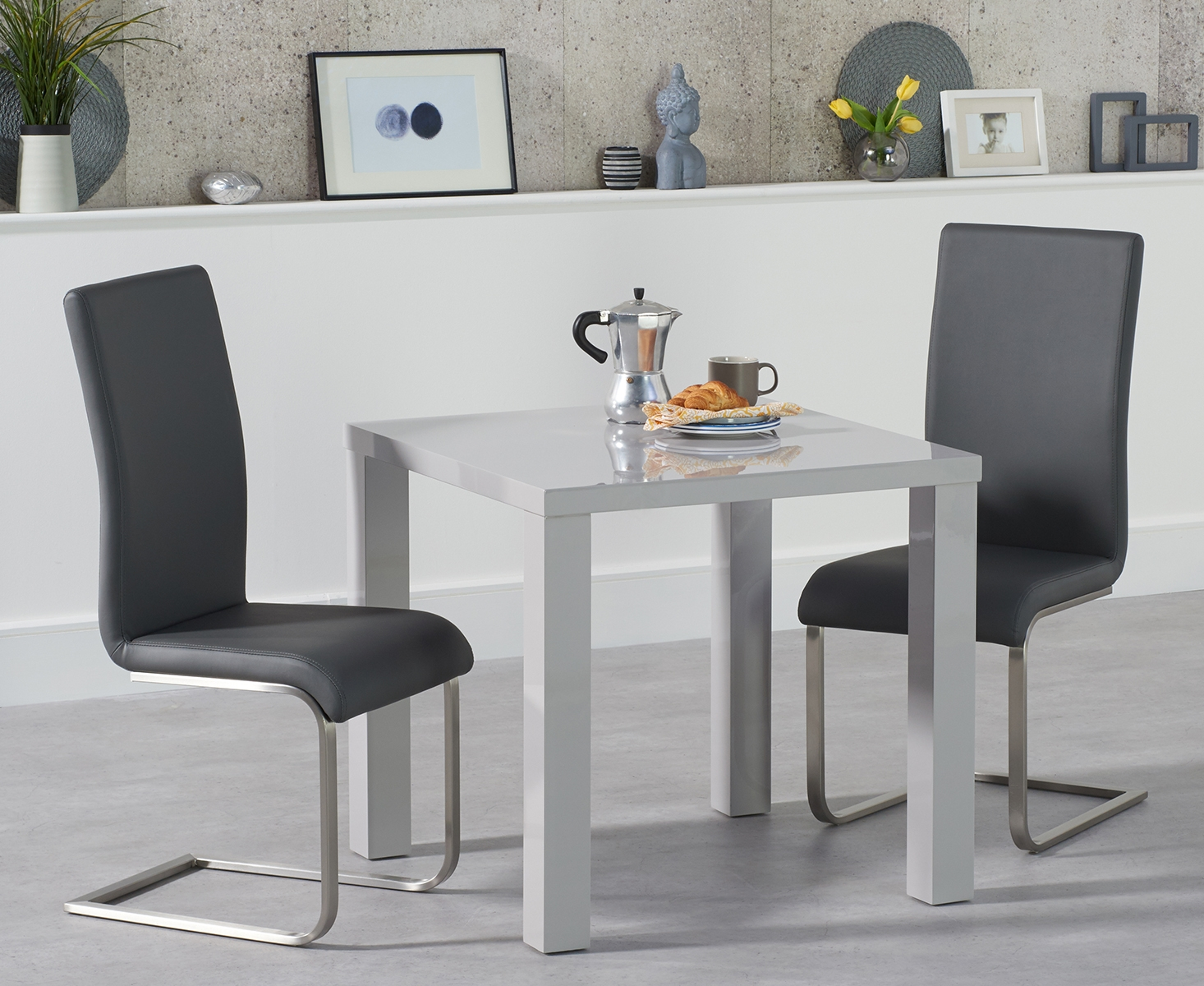 An image of Atlanta 80cm Light Grey High Gloss Dining Table with Malaga Chairs