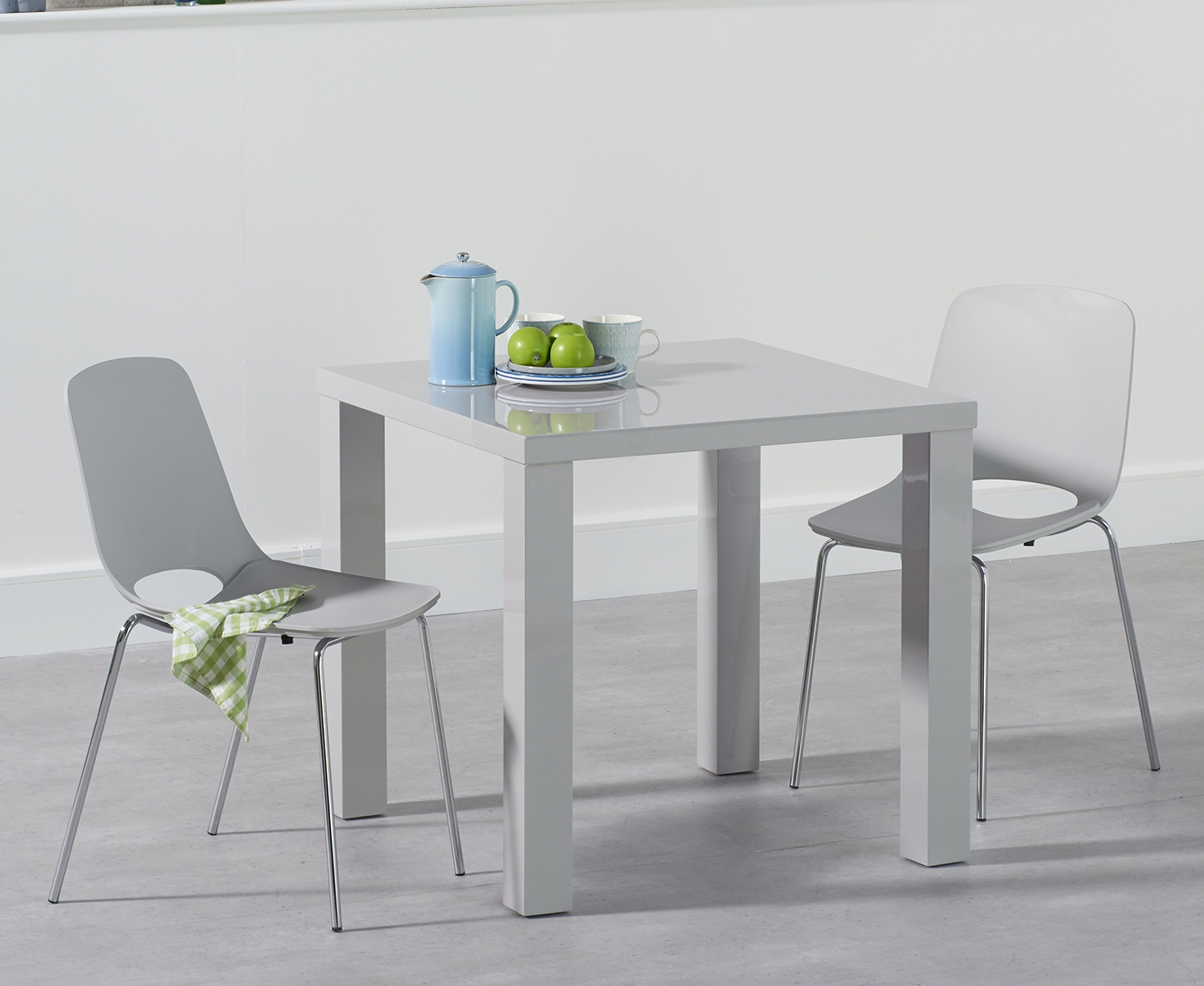 An image of Atlanta 80cm Light Grey High Gloss Dining Table with Nordic Chrome Leg Chairs