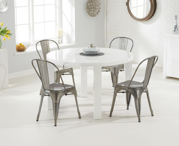 Atlanta 120cm Round White High Gloss Dining Table with Tolix Industrial Style Dining Chairs