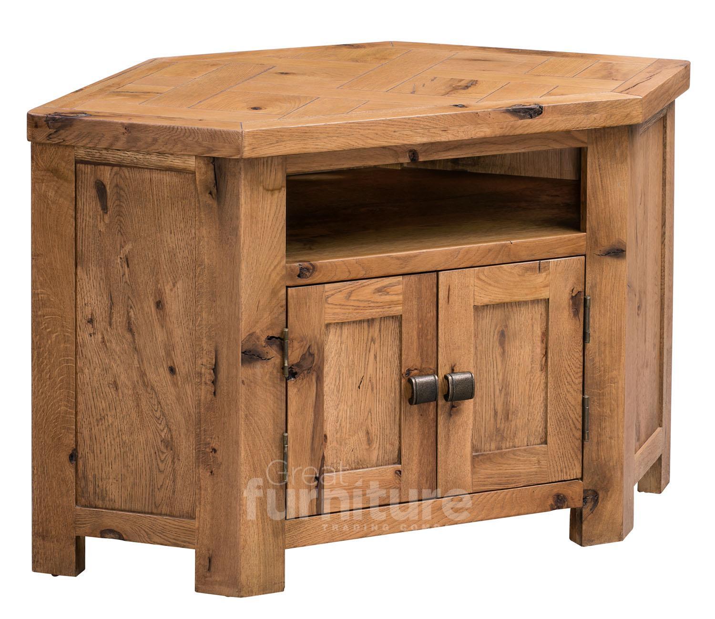 Huari Solid Oak Corner TV Cabinet