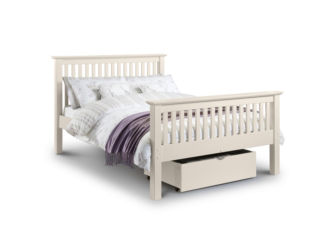 Barcelona Stone White High Foot End Solid Pine Double Bed