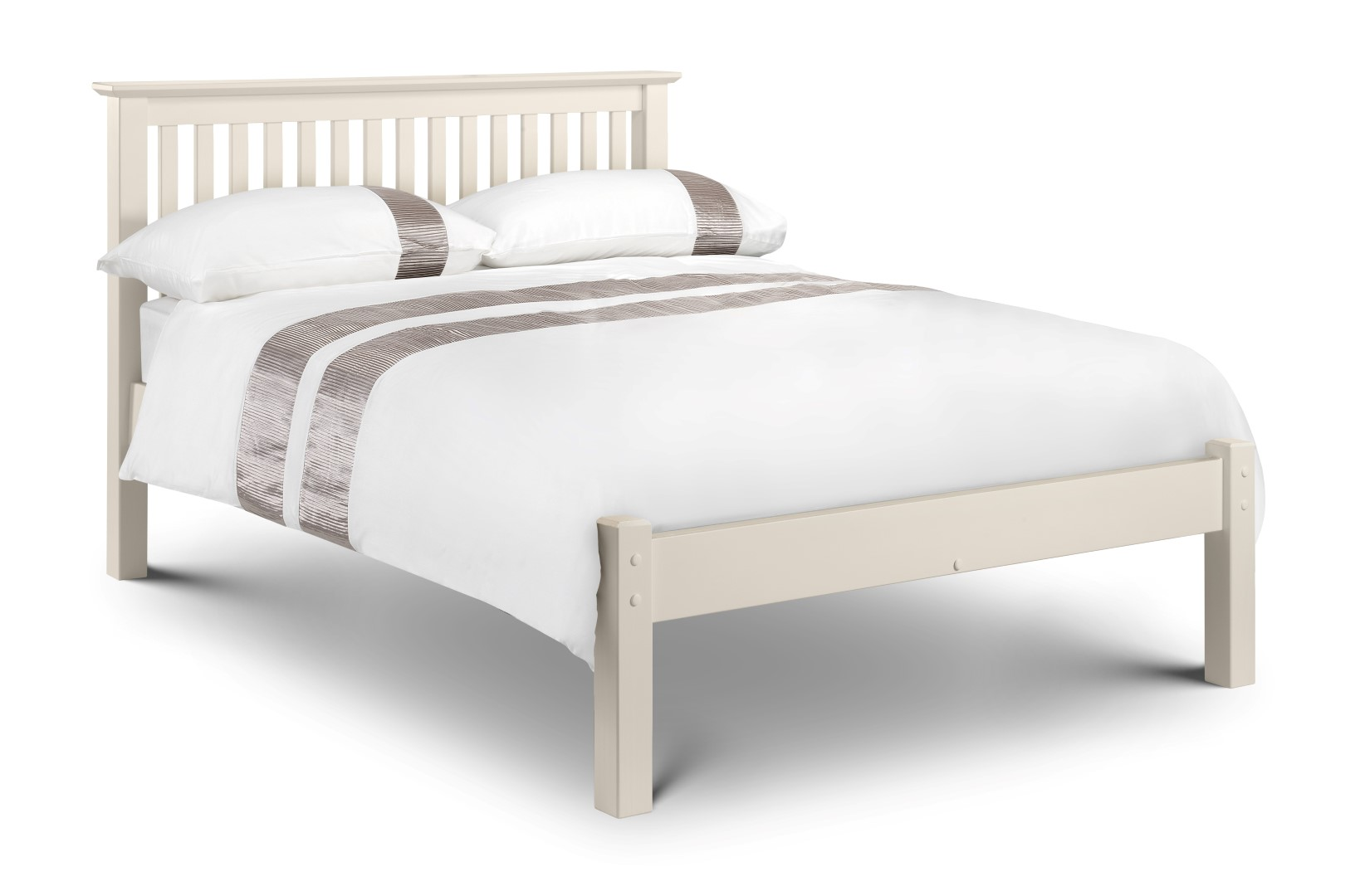 Barcelona Stone White Low Foot End Solid Pine Double Bed