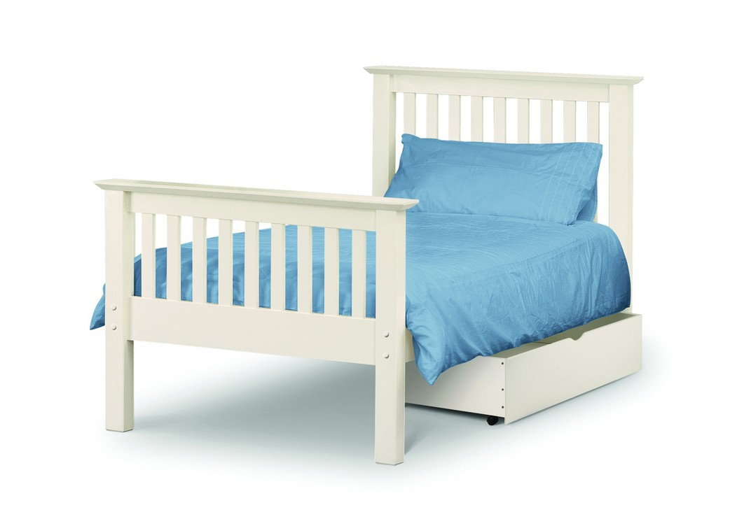 Basel Stone White High Foot End Solid Pine Single Bed