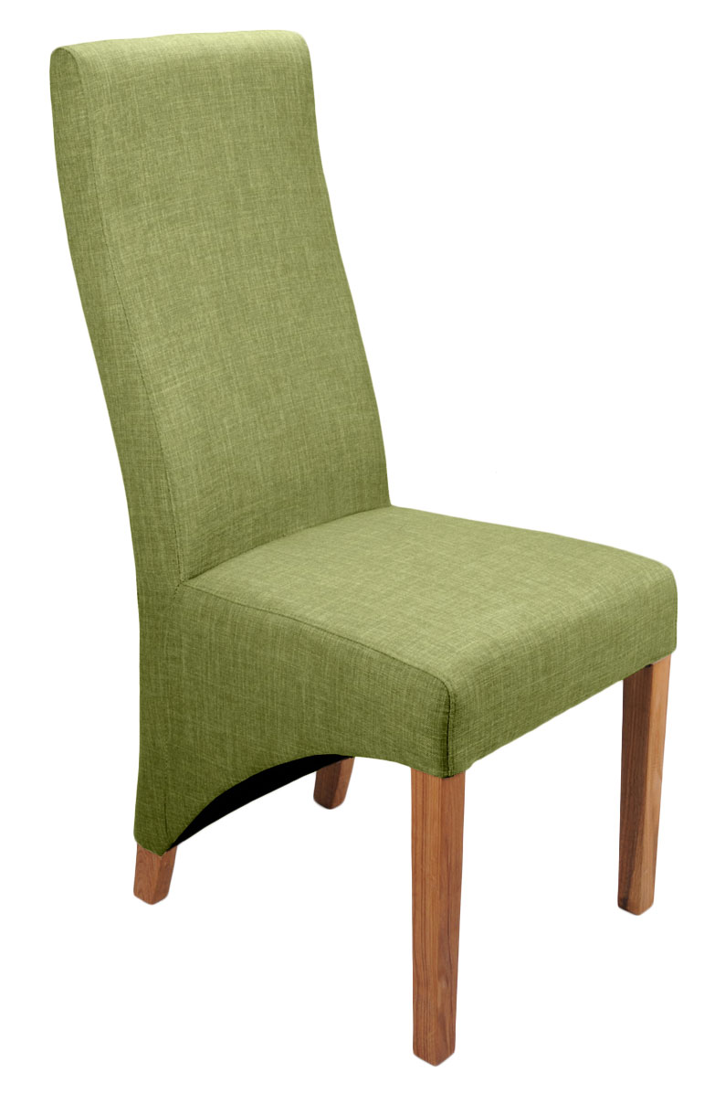 Abella Lime Fabric Dining Chairs (Pair)
