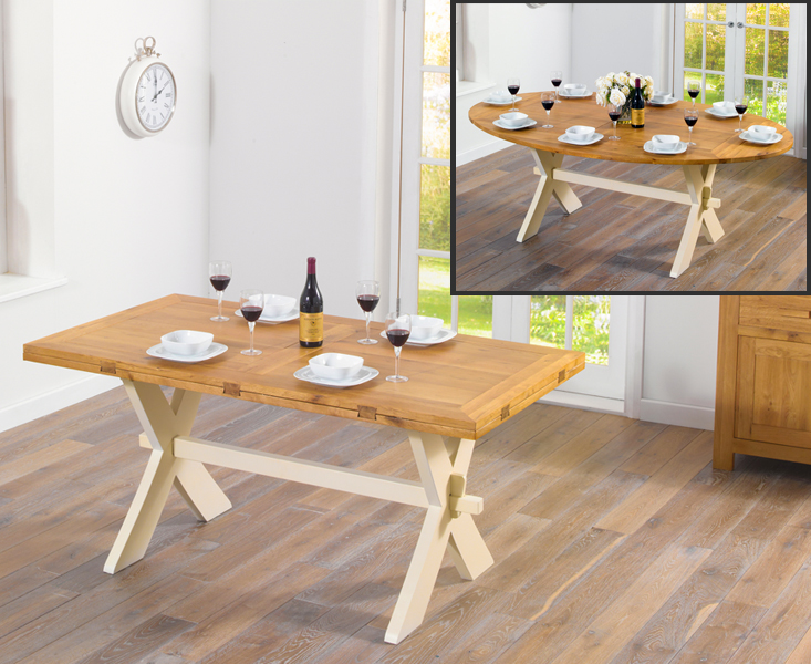 An image of Bordeaux 165cm Oak and Cream All Sides Extending Table