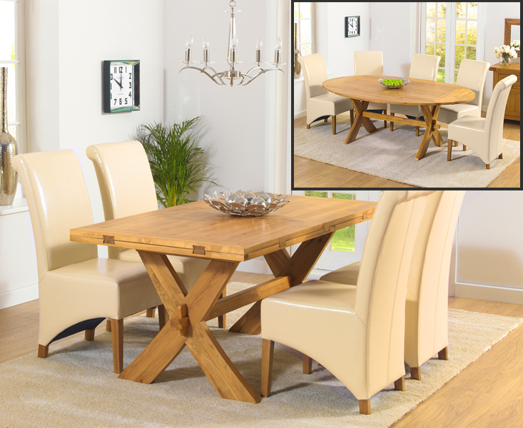 Bordeaux 165cm Oak All Sides Extending Table with Kentucky Chairs