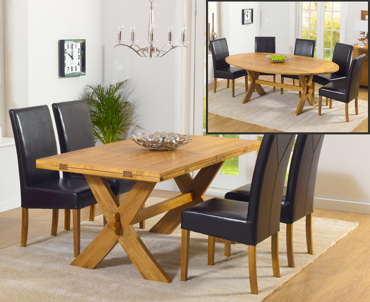 Bordeaux 165cm Oak All Sides Extending Table with Rustique Chairs