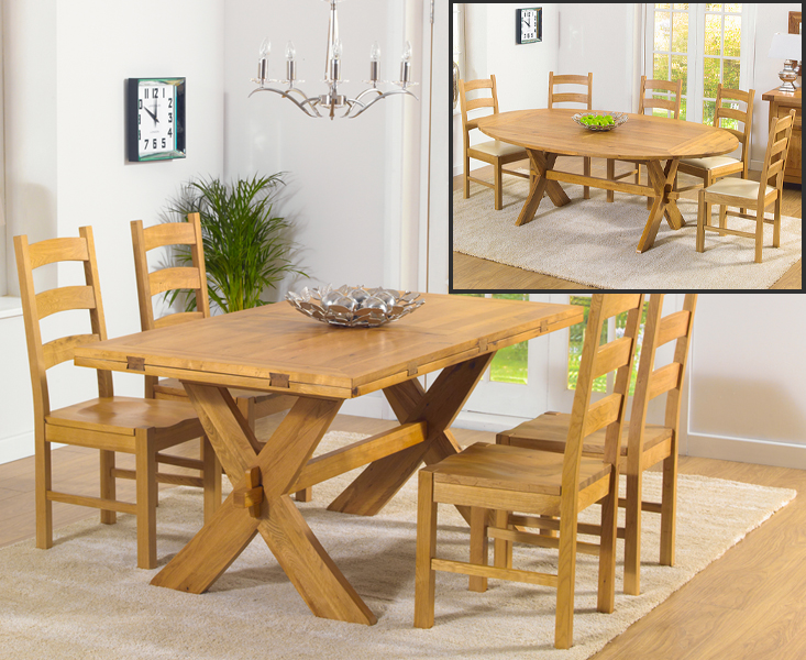 Bordeaux 165cm Oak All Sides Extending Table with Vermont Chairs