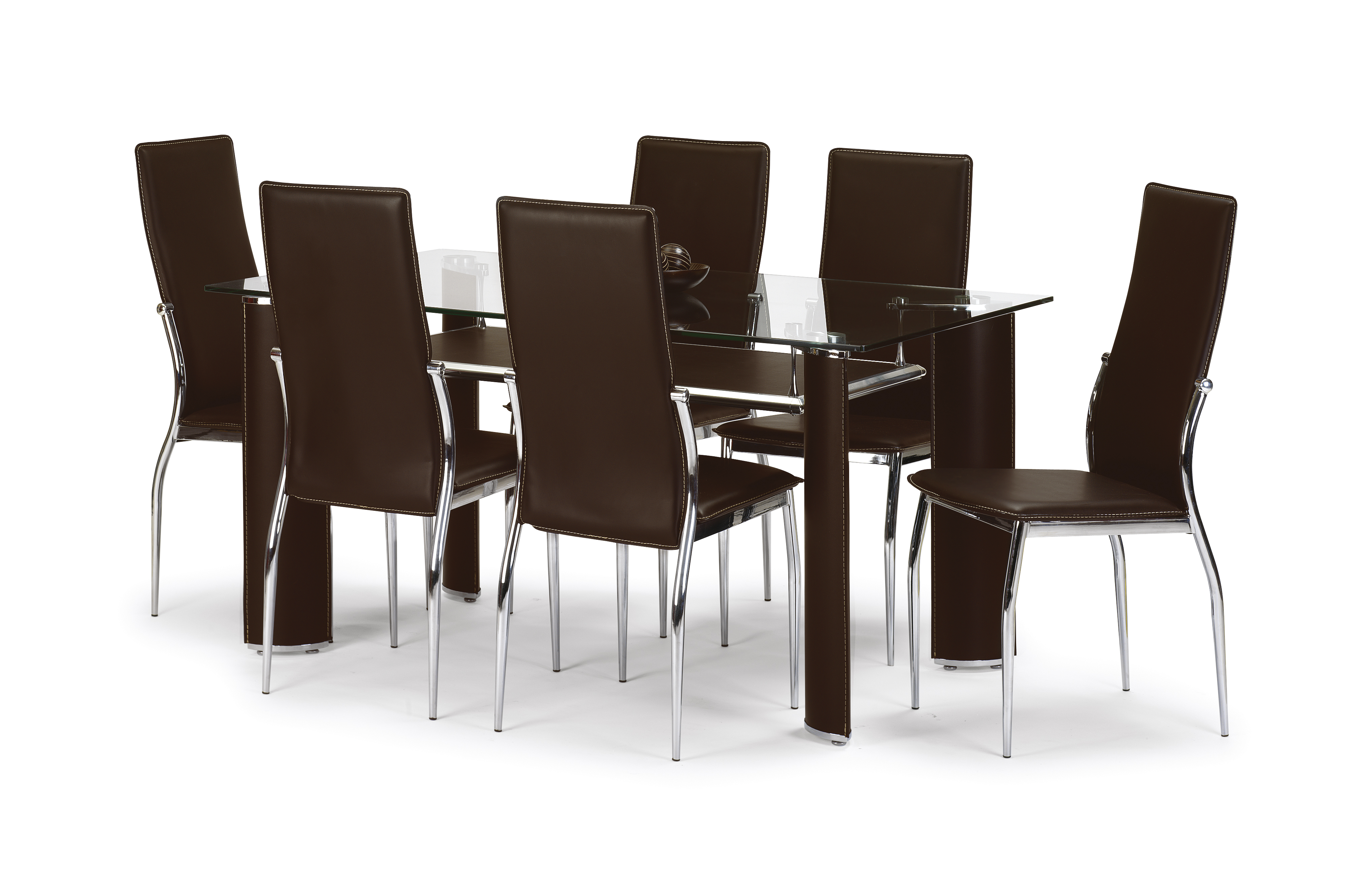Boston Glass and Leather Dining Set