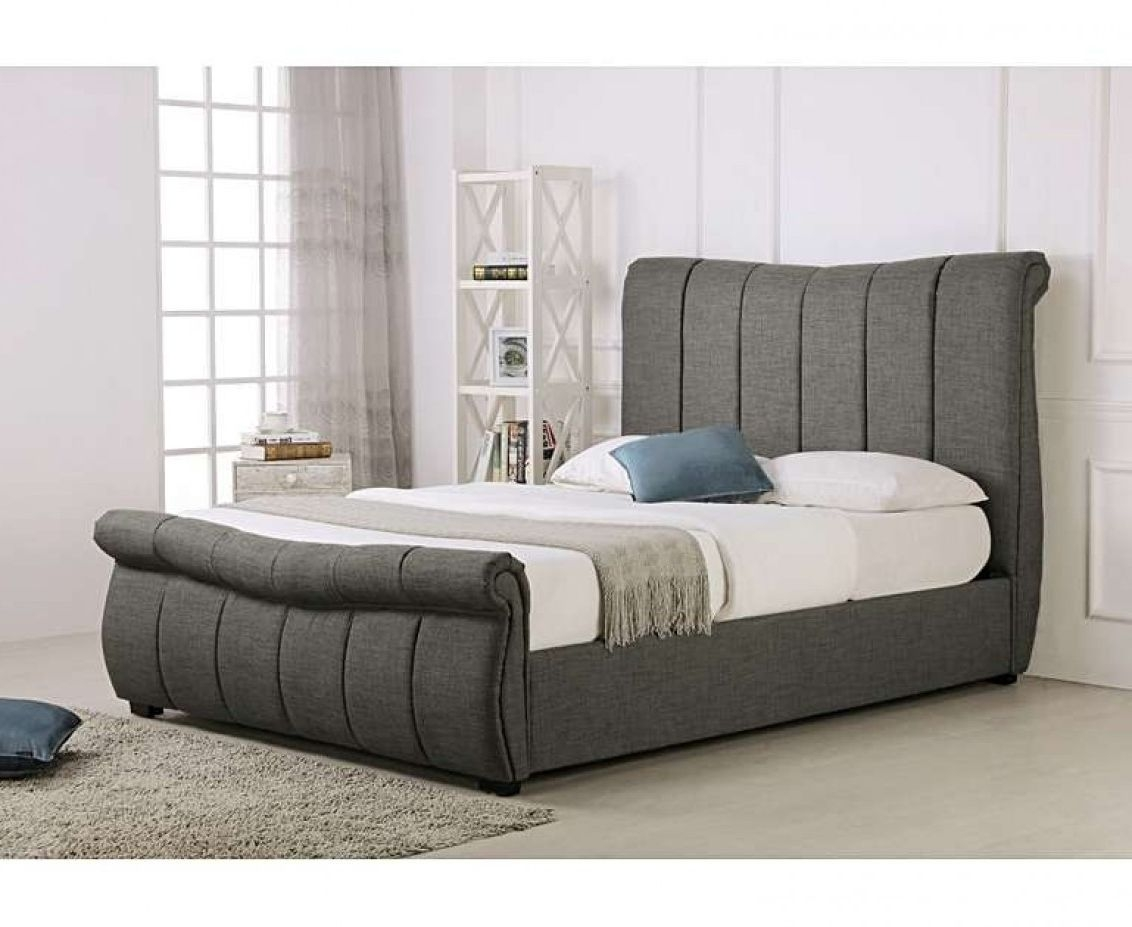 Product photograph showing Bosworth Grey Fabric Sleigh Ottoman King Size Bed