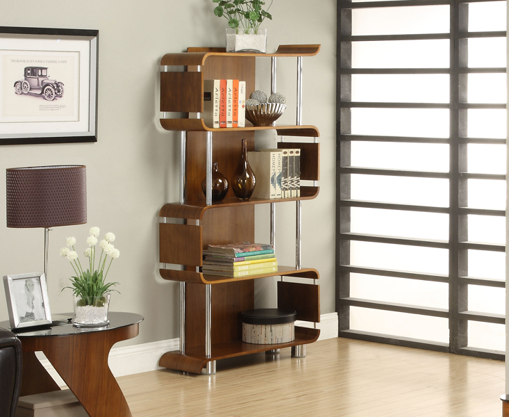 Curve Walnut Bookcases