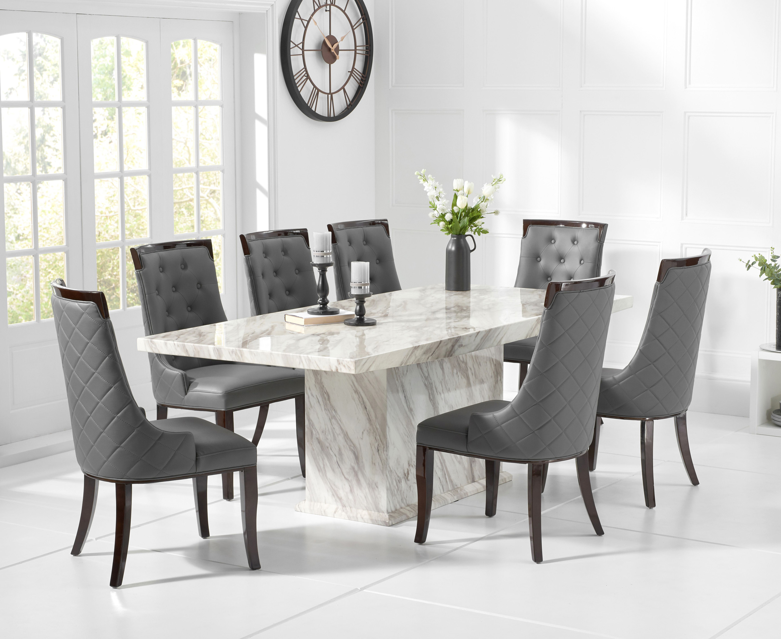 Product photograph showing Calacatta 180cm Marble Dining Table With Angelica Chairs