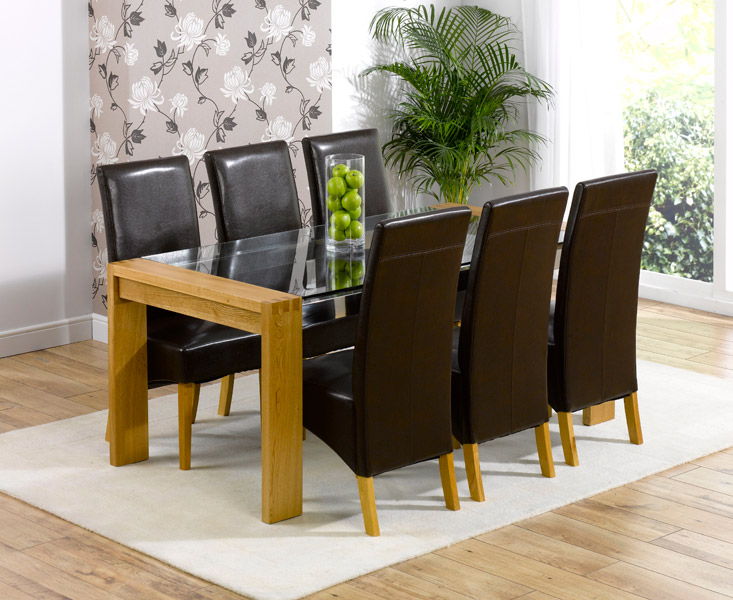 Cannes 200cm Solid Oak & Glass Dining Table with Cannes Chairs