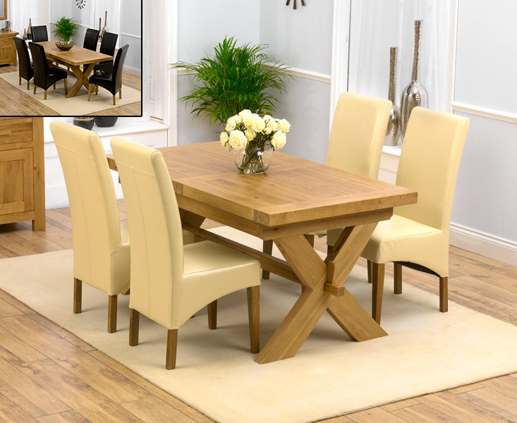 Bordeaux 160cm Solid Oak Extending Dining Table with Cannes Chairs