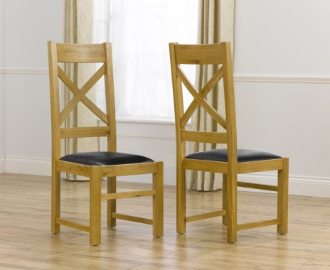 Cheshire Solid Oak and Black Leather Dining Chairs (Pair)