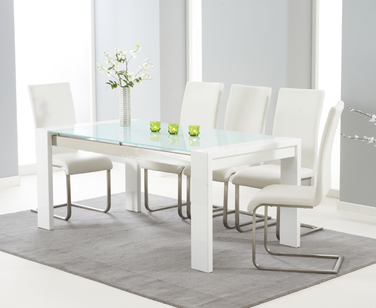 Cannes 180cm White High Gloss Dining Table with Malaga Chairs