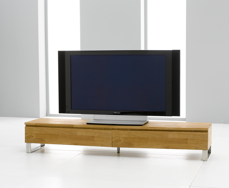 Photo of Peninsula 180cm oak and chrome tv unit