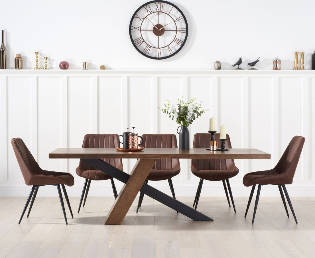Photo of Chateau 180cm black leg dining table with marcel antique chairs