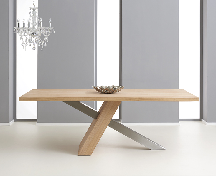 Chateau 195cm Oak and Metal Dining Table