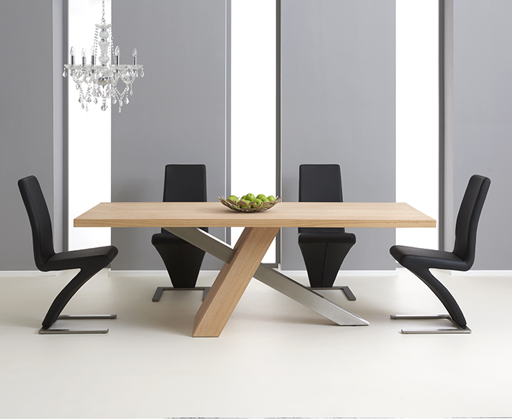 Chateau 195cm Oak and Metal Dining Table with Hampstead Chairs