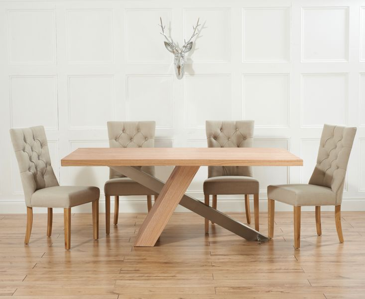 Chateau 225cm Oak and Metal Dining Table with Anais Fabric Chairs
