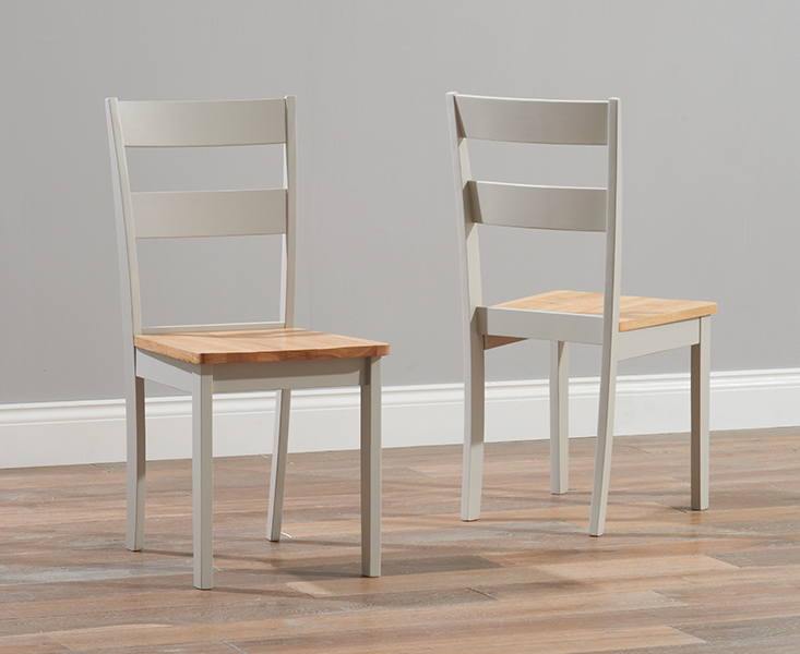 Product photograph showing Chiltern Oak And Grey Dining Chairs Pairs