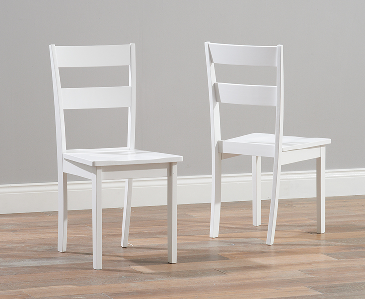 Product photograph showing Chiltern White Dining Chairs Pairs