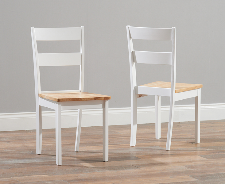 Product photograph showing Chiltern Oak And White Dining Chairs Pairs