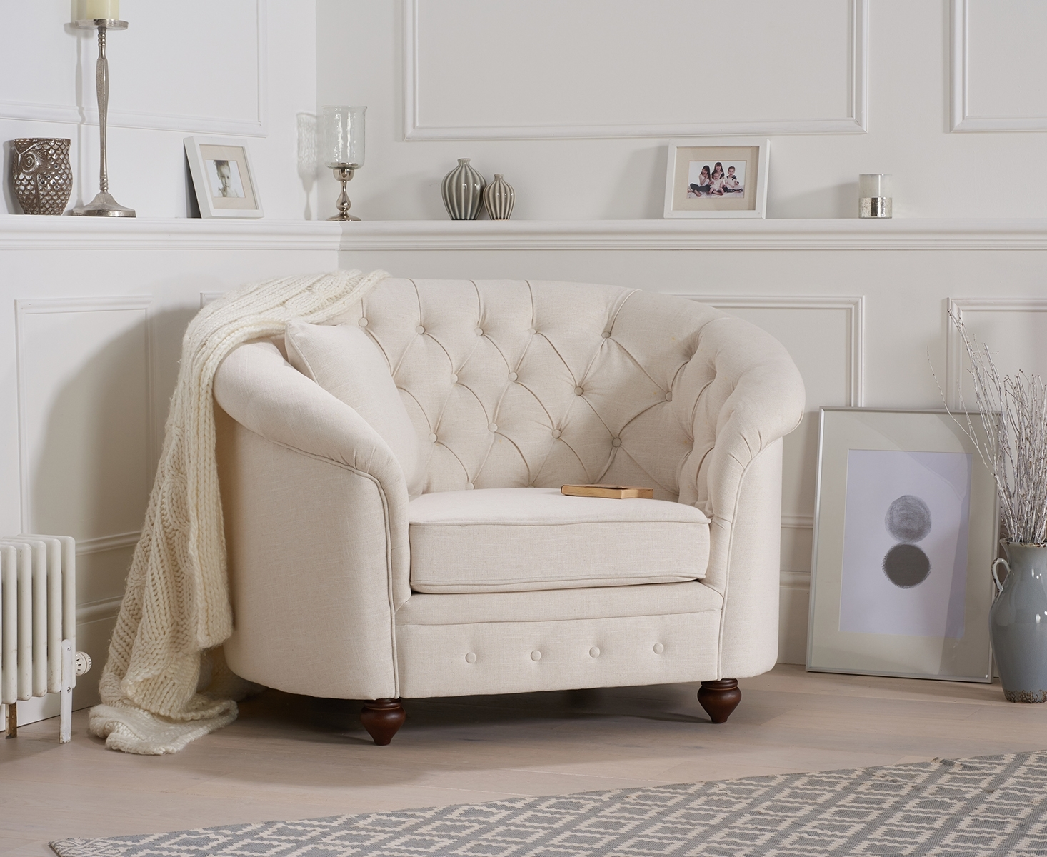 Cara Chesterfield Ivory Fabric Armchair