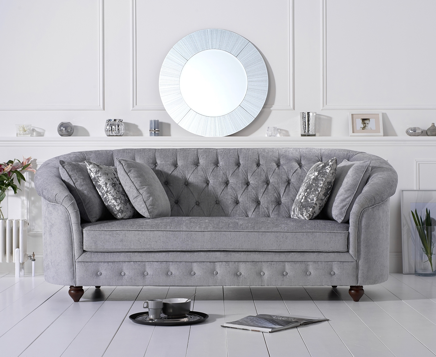 Product photograph showing Cara Chesterfield Grey Plush Fabric Three-seater Sofa