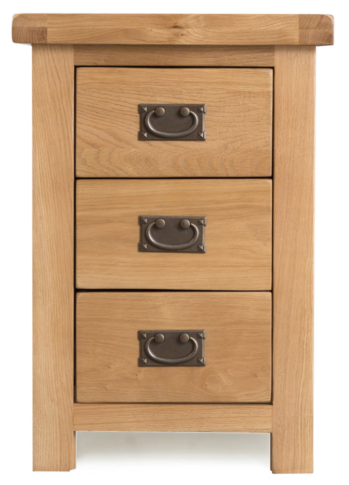 Product photograph showing Sasha Large 3 Drawer Bedside Cabinet