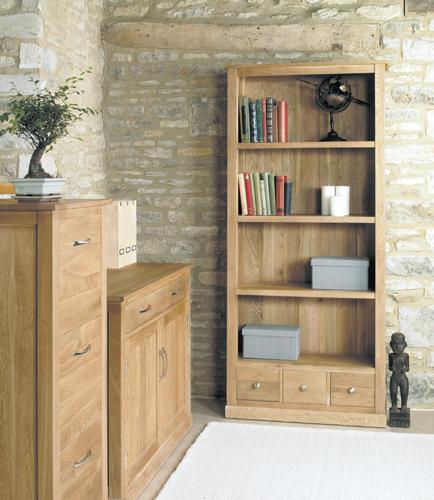 Mobel Solid Oak 3 Drawer Bookcases