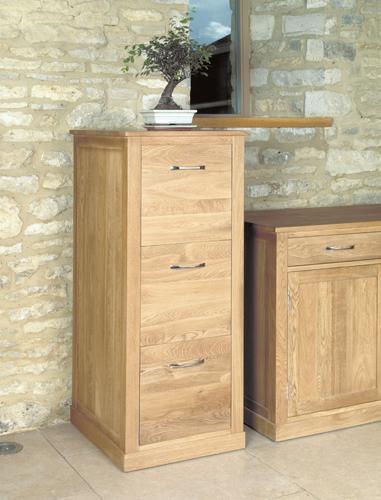 Mobel Solid Oak 3 Drawer Filing Cabinet