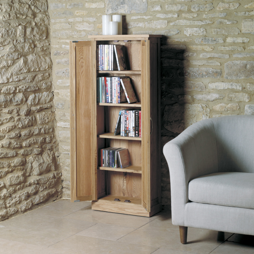 Mobel Solid Oak DVD Storage Cupboard