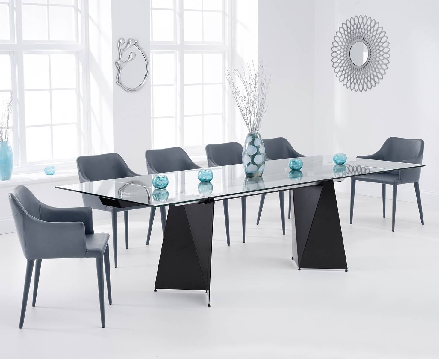 Cuba 180cm Black Extending Glass Dining Table with Cuba Chairs