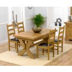 Bordeaux 160cm Solid Oak Extending Dining Table with Vermont Chairs