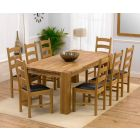 Madrid 200cm Solid Oak Extending Dining Table with Vermont Chairs